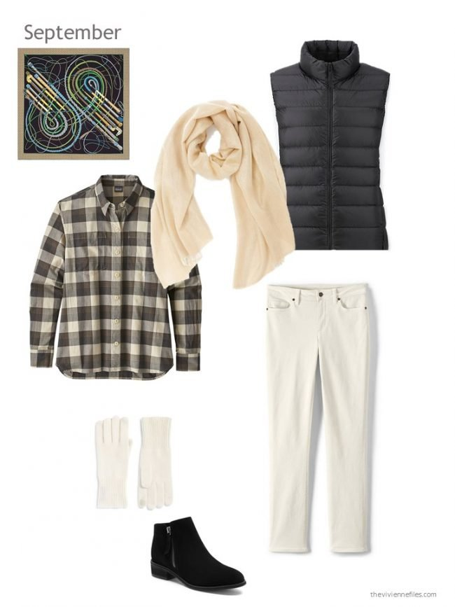 1. outfit with a black down vest