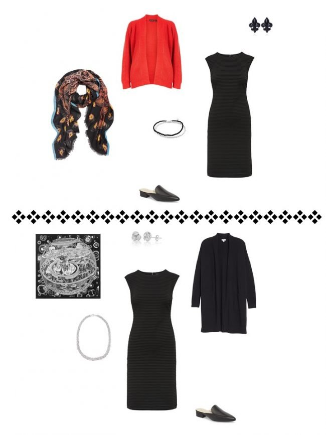 10. 2 ways to wear a black dress from a Project 333 Wardrobe