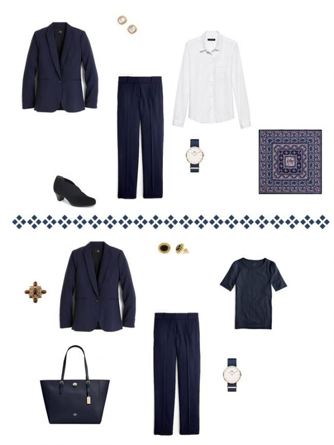 10. 2 ways to wear a navy suit from a Project 333 Wardrobe