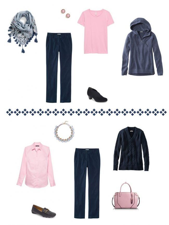 10. 2 ways to wear navy pants from a Project 333 Wardrobe