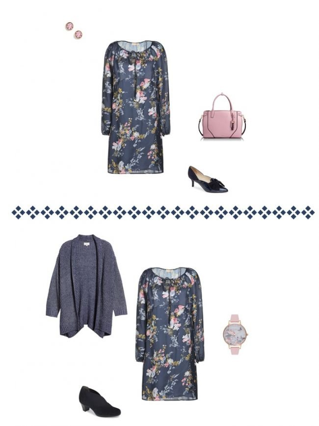 11. 2 ways to wear a floral dress from a Project 333 Wardrobe
