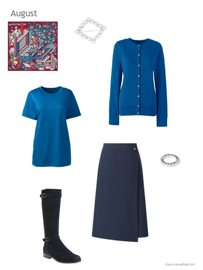 11. a navy and bright blue outfit
