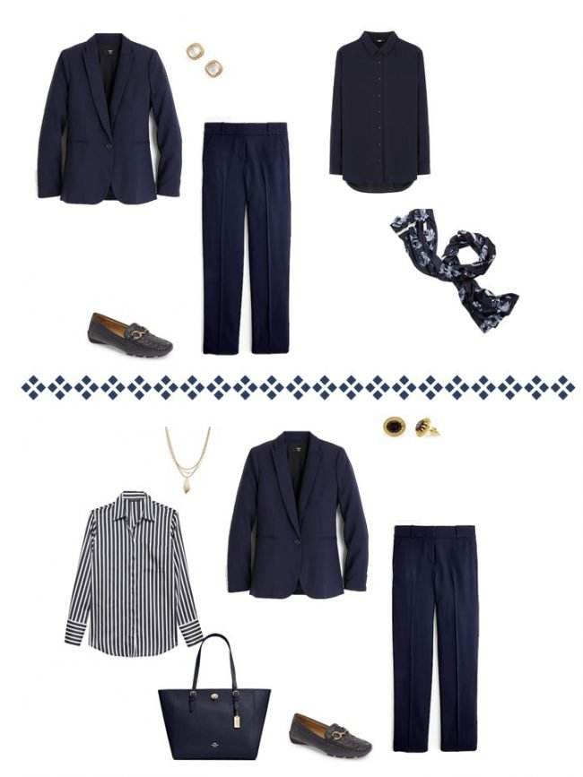 11.2 ways to wear a navy suit from a Project 333 Wardrobe