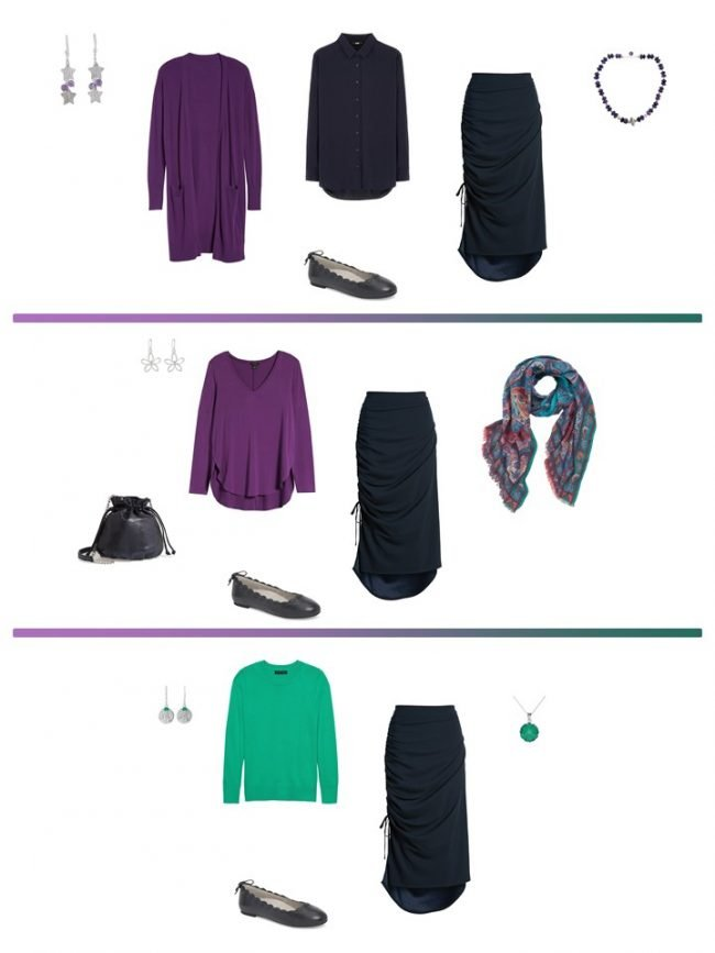 12 3 ways to wear a navy skirt from a Project 333 Wardrobe