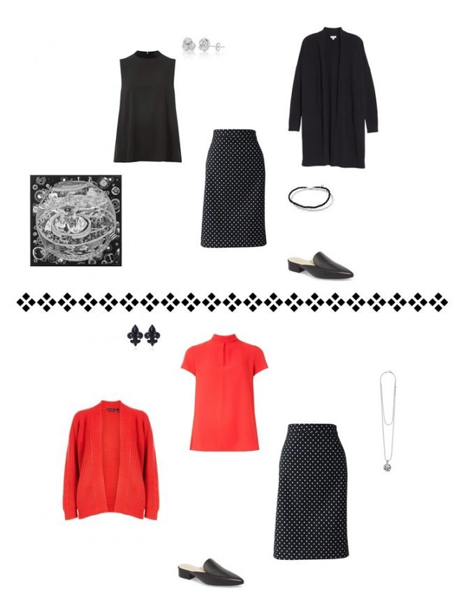 12. 2 ways to wear a black dotted skirt from a Project 333 Wardrobe