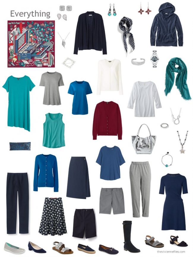 12. capsule wardrobe in navy and grey with green, blue and red accents