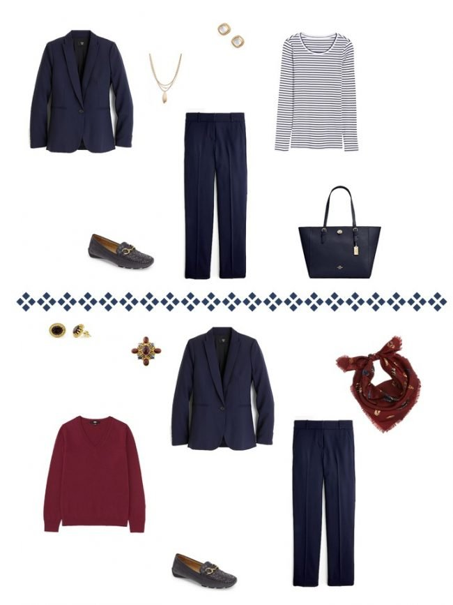 12.2 ways to wear a navy suit from a Project 333 Wardrobe