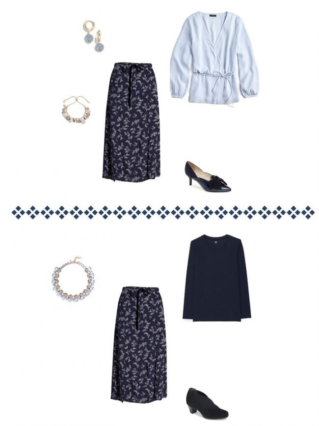13. 2 ways to wear a floral skirt from a Project 333 Wardrobe