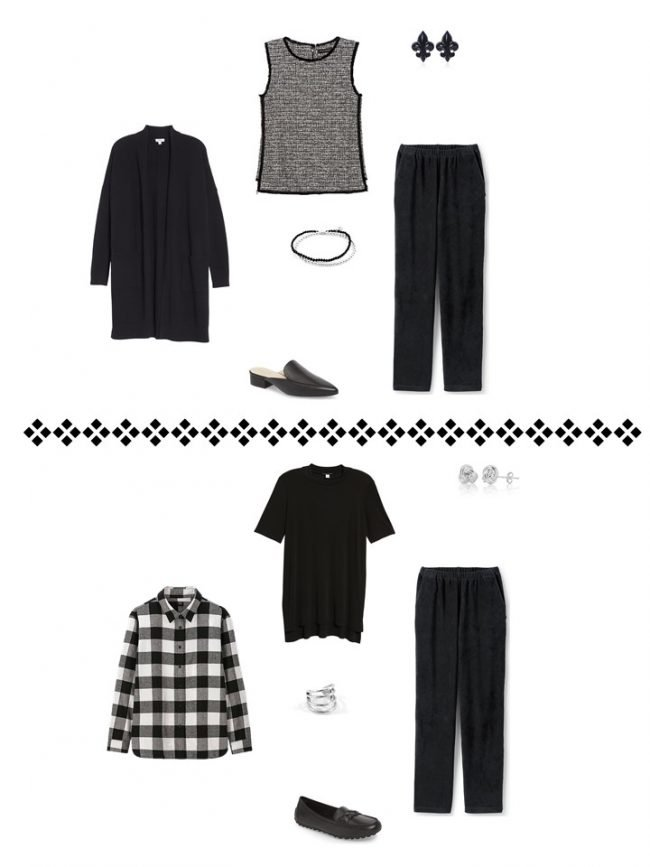 13. 2 ways to wear black pants from a Project 333 wardrobe