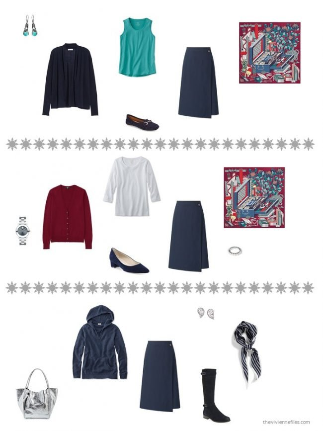 13. 3 ways to wear a navy skirt