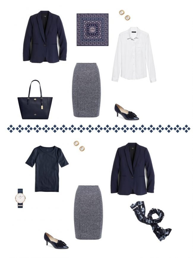 13.2 ways to wear a navy blazer and tweed skirtfrom a Project 333 Wardrobe