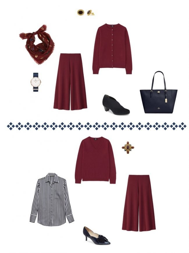 14. 2 ways to wear a burgundy split skirt from a Project 333 Wardrobe