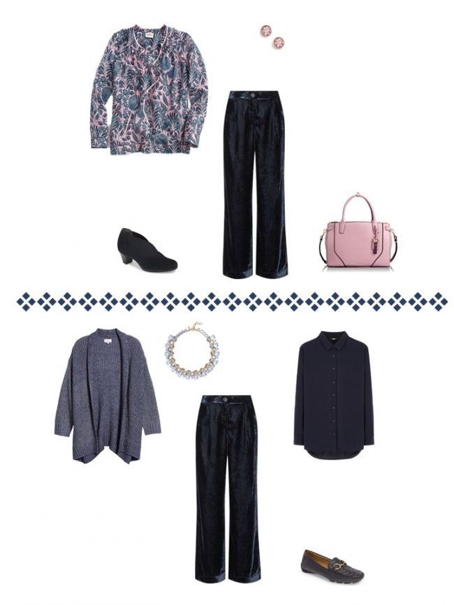 14. 2 ways to wear navy velvet pants from a Project 333 Wardrobe