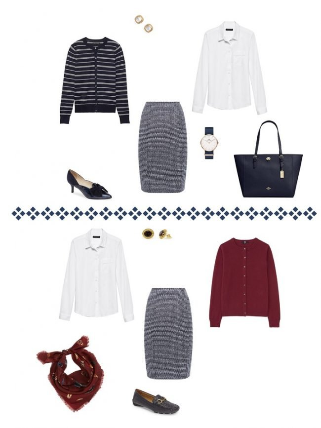 15. 2 ways to wear a navy tweed skirt from a Project 333 Wardrobe
