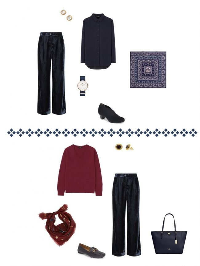 16. 2 ways to wear navy velvet pants from a Project 333 Wardrobe