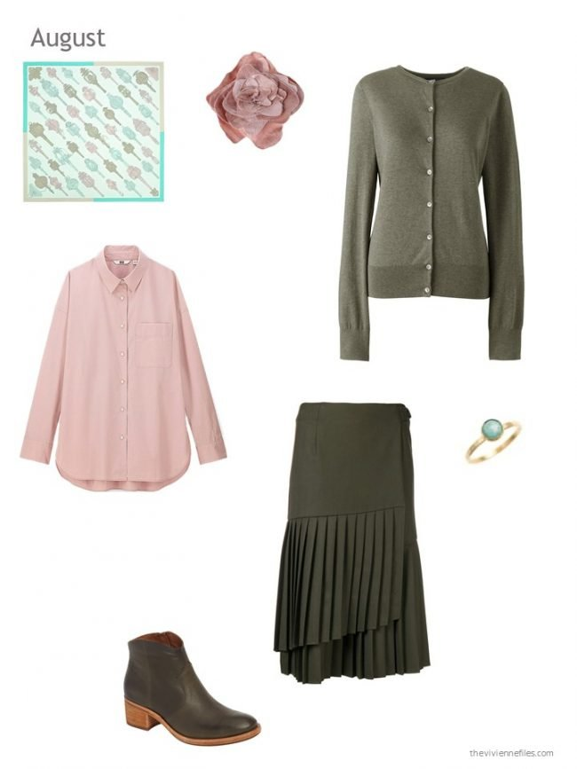 16. an olive and pink skirt outfit
