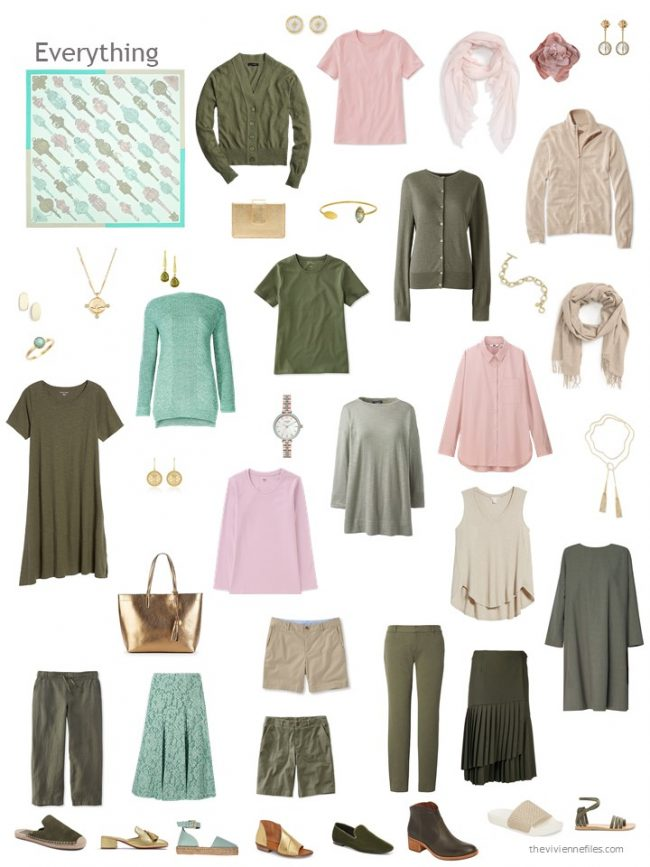17. an olive, beige and pink capsule wardrobe