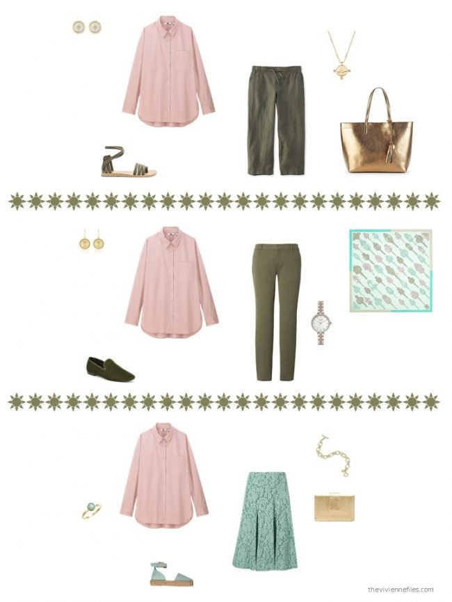 18. three ways to wear a pink blouse