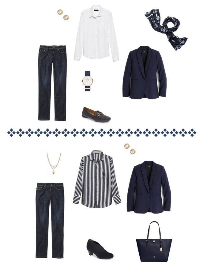 19. 2 ways to wera a navy blazer and jeans from a Project 333 Wardrobe