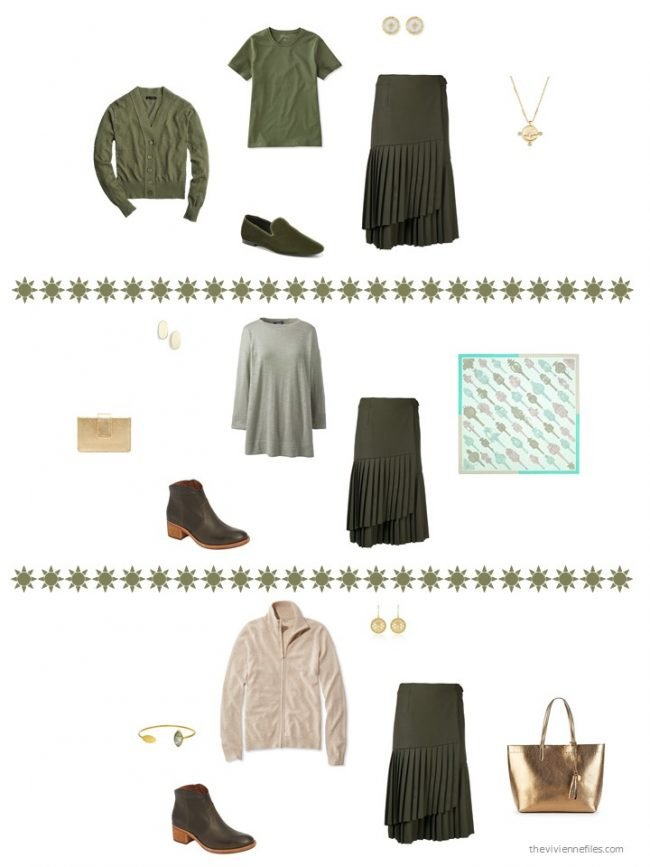 19. 3 ways to wear an olive skirt
