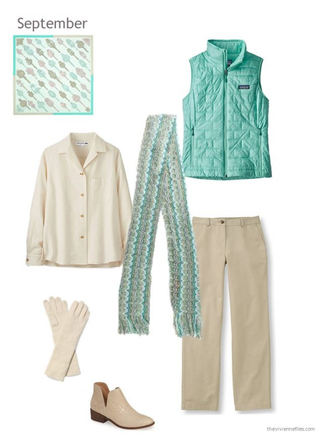 19. beige outfit with a green vest