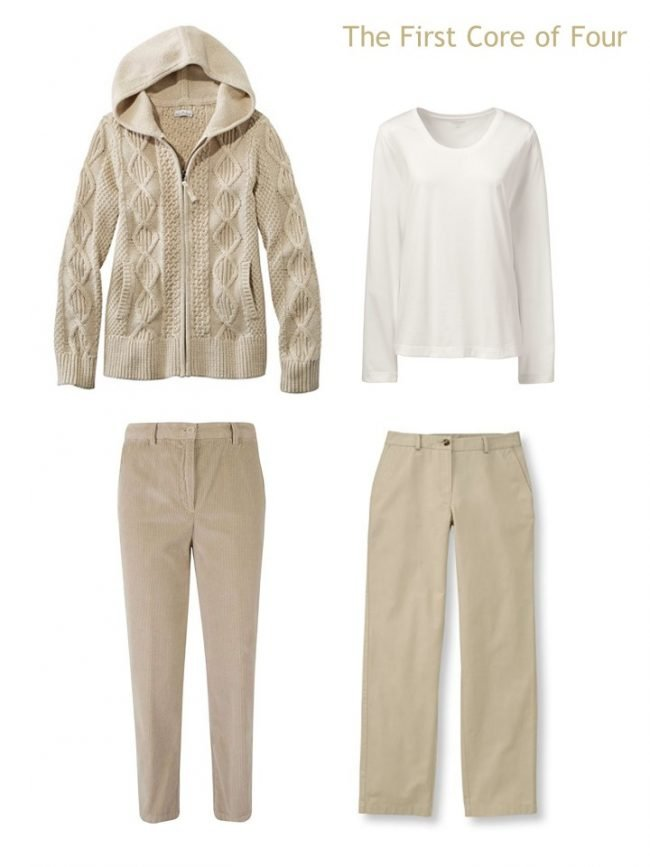 2. a khaki and ivory wardrobe Core of 4