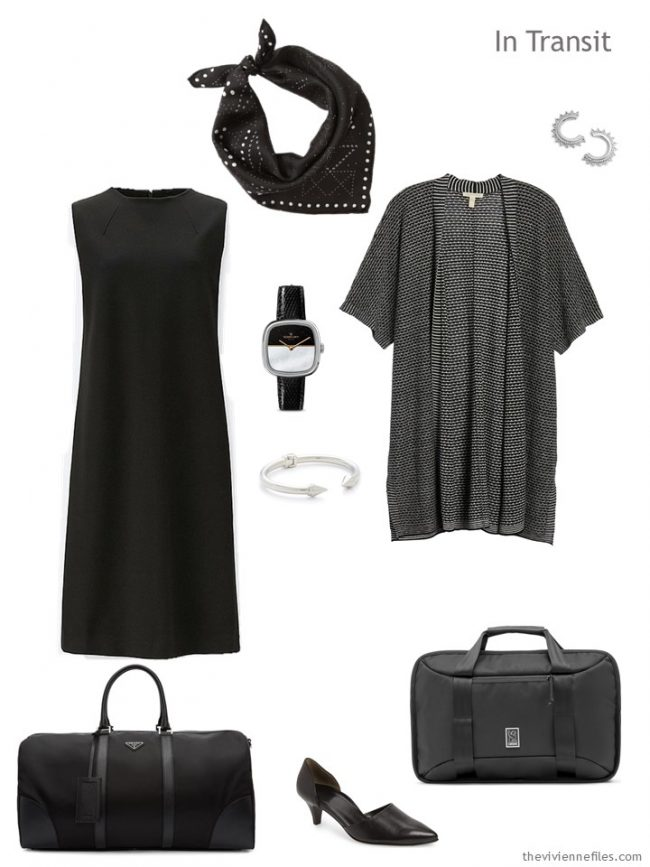 2. black travel outfit for warm weather