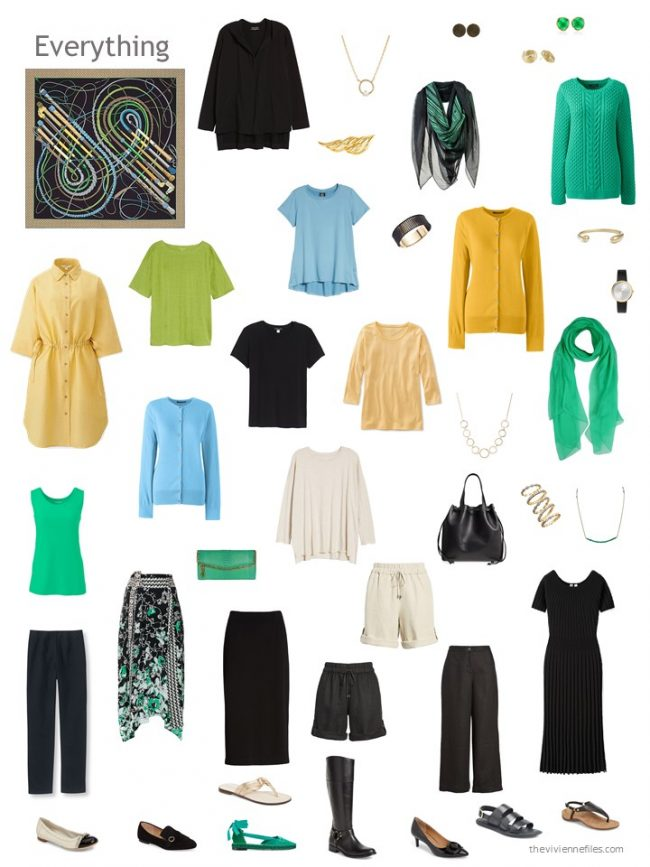 2. capsule wardrobe in black, gold, blue and green