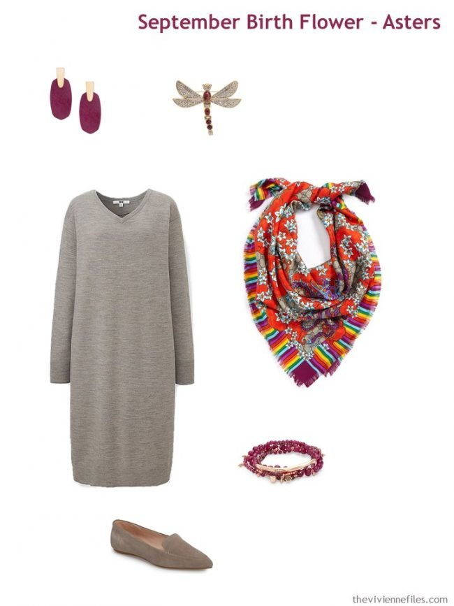 2. taupe dress with dark red accessories