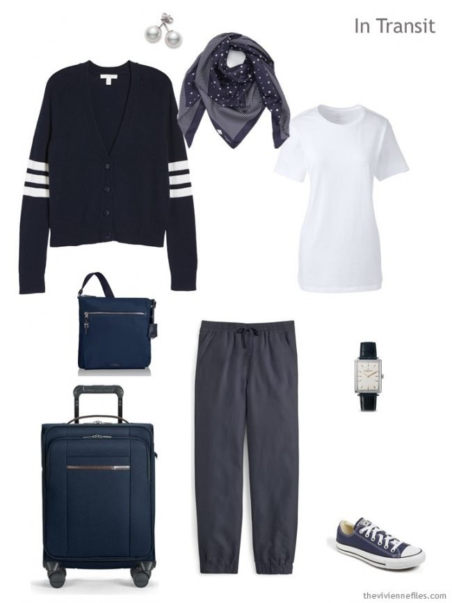2. travel outfit in navy and white