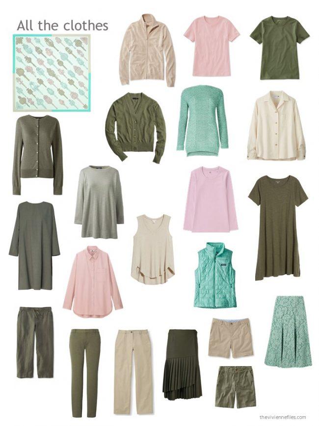 20. capsule wardrobe based on shades of green, wih beige
