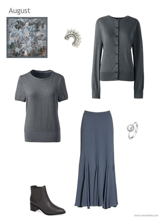 21. a grey and slate blue skirt outfit