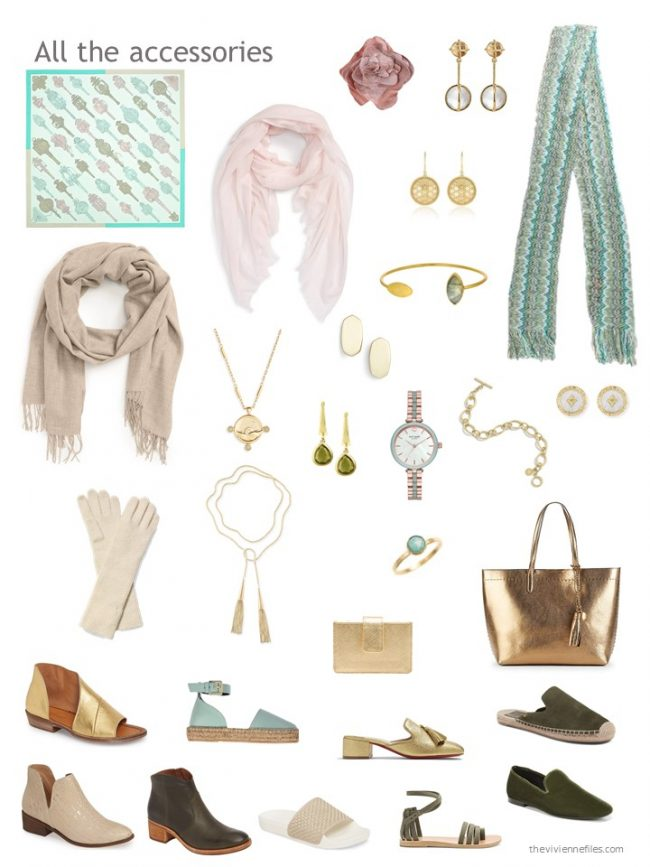 21. accessory wardrobe based on beige and green