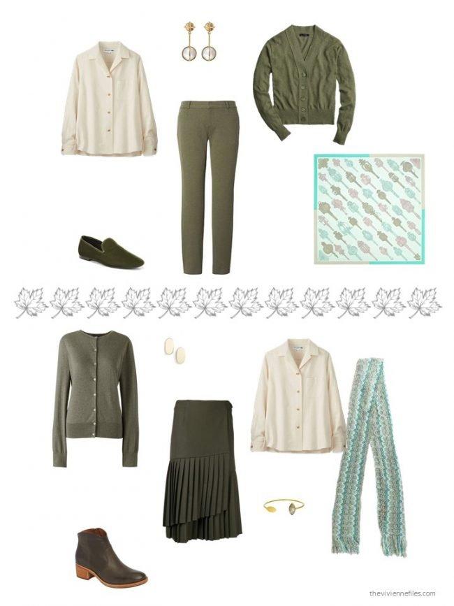 22. 2 ways to wear a beige flannel shirt