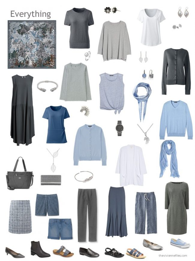 22. capsule wardrobe in grey and white with shades of blue