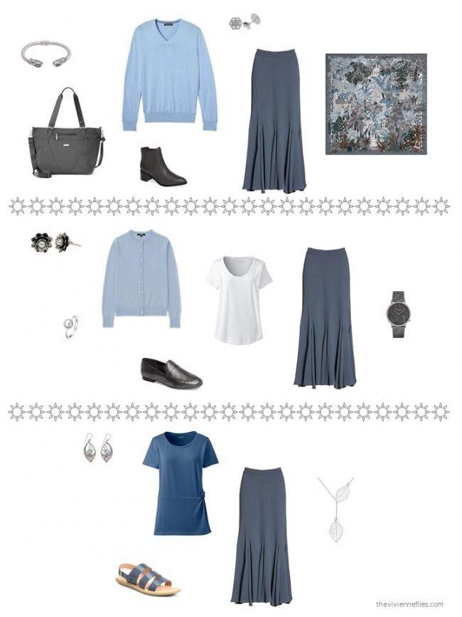 23. 3 ways to wear a blue skirt