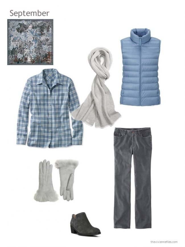25. blue and grey outfit with blue down vest