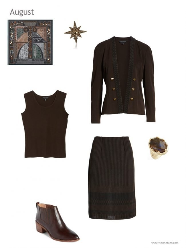 26. a black and brown skirt outfit