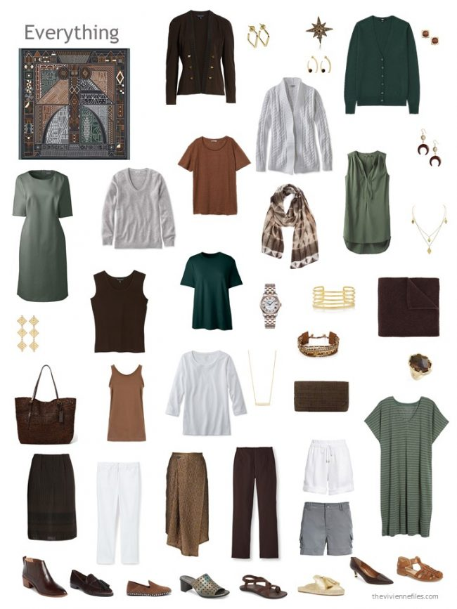 27. travel wardrobe in brown and green with grey and white accents