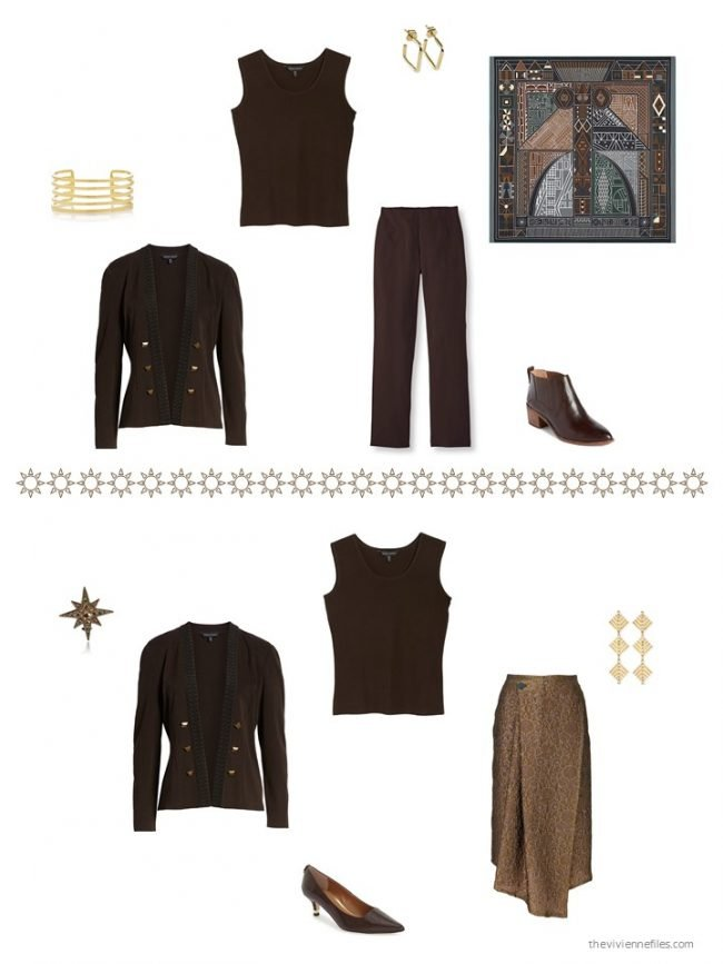 28. 2 ways to wear a black and brown twinset