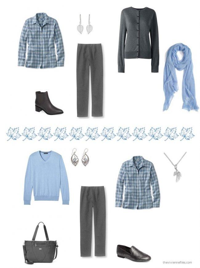 28. 2 ways to wear a blue plaid flannel shirt