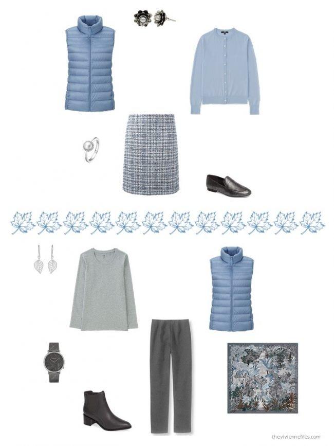 29. 2 ways to wear a light blue down vest