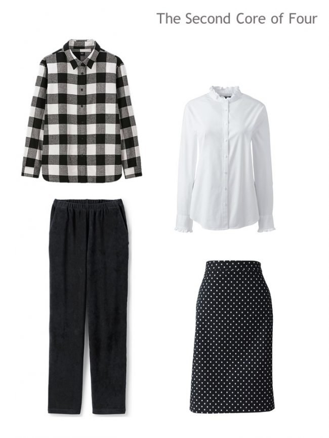 3. 4-piece capsule wardrobe in black and white