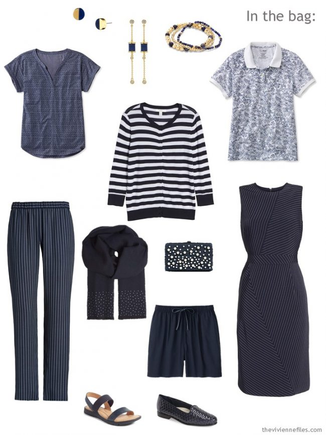 3. 6-Pack travel capsule wardrobe in navy and white