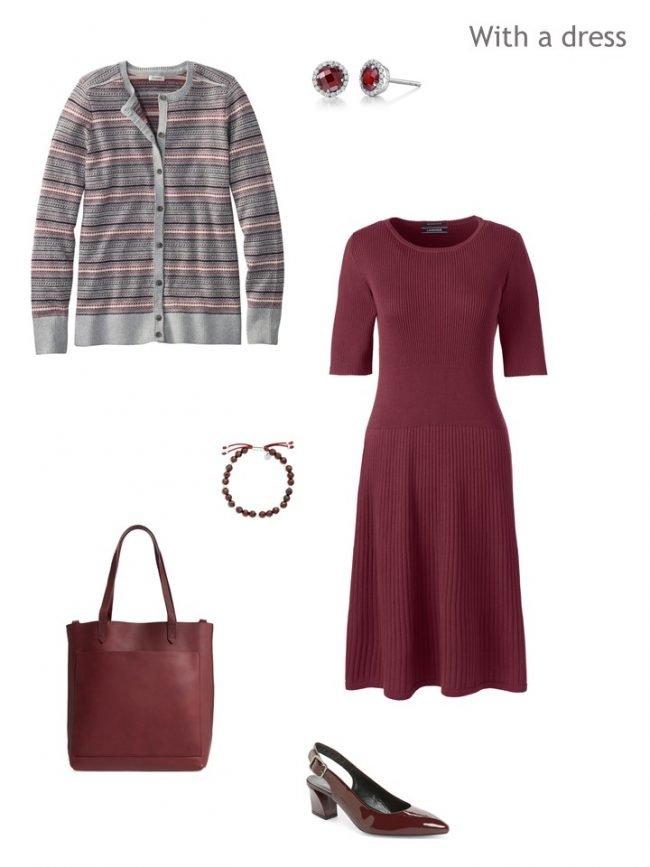 3. Fair Isle cardigan with wine dress