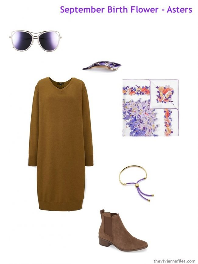 3. camel dress with violet accessories