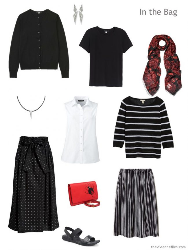 3. six-pack travel capsule wardrobe in black and white