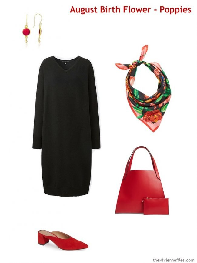 3.wearing poppy red with black