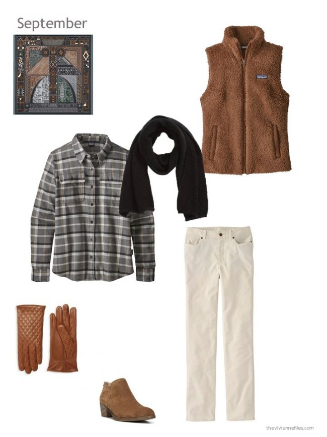 31. black and bone outfit with brown fleece vest