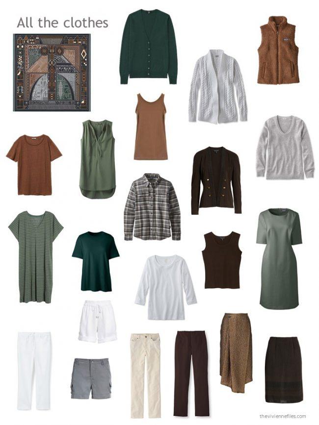32. capsule wardrobe in black, brown, green and white